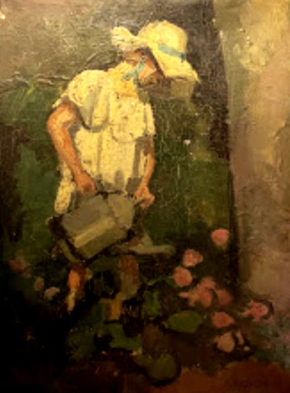 Girl in Le Jardin 1800 10x13 Original Painting by Camille Pissarro