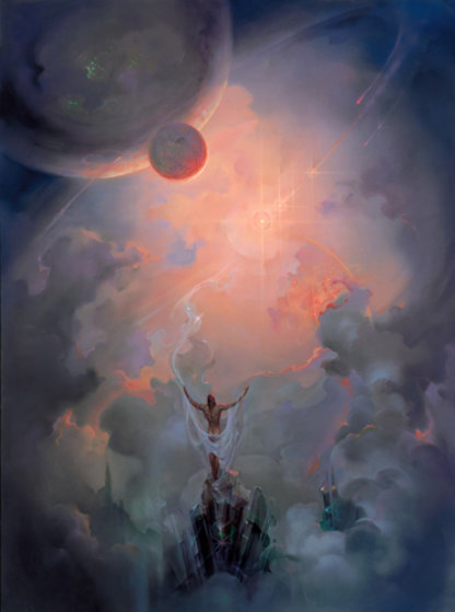 In Contemplation of the Universe 1990 32x26 Original Painting by John Pitre