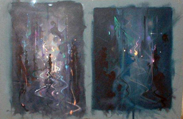 Study for Night Street 10x15 Original Painting by John Pitre