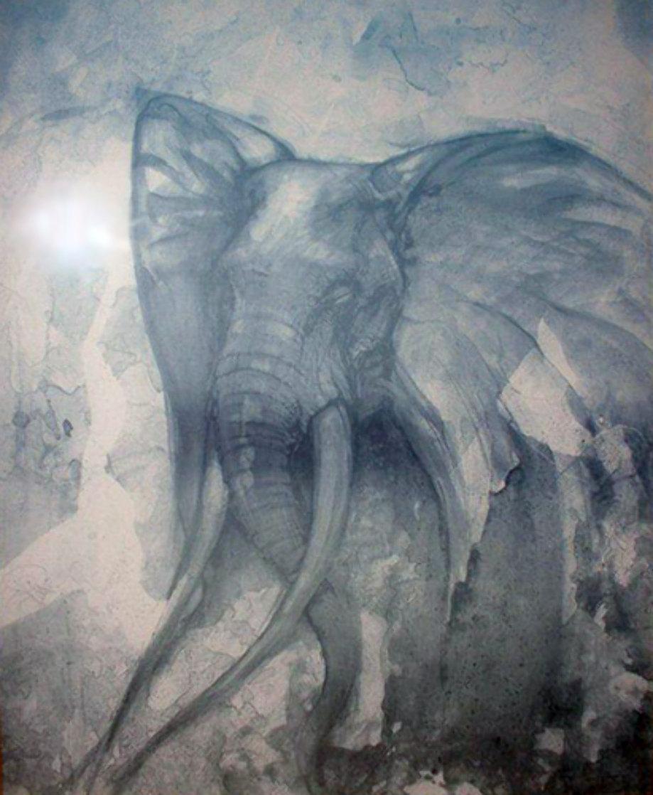 Elephant Watercolor 30x24 Watercolor by John Pitre