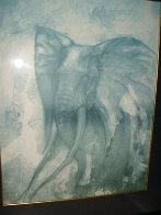 Elephant Watercolor 30x24 Watercolor by John Pitre - 1