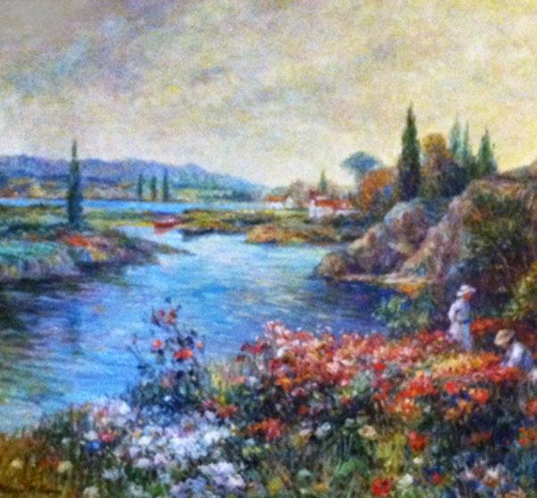 Gathering Flowers 34x39 Original Painting by Henri Plisson