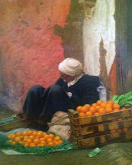 Vendedor De Naranjas 2006 39x31 Huge Original Painting - Daniel Gonzalez Poblete