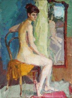 Nude Near the Mirror 1960 46x34 Original Painting - Roman  Podobedov