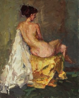 Sitting Nude From the Back 39x31 Original Painting - Roman  Podobedov