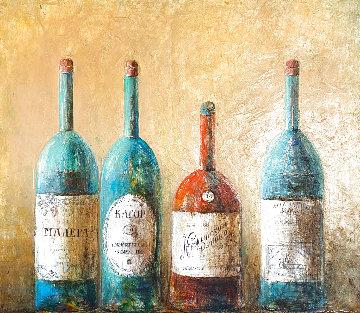 Four Vintage Bottles 46x54 Original Painting - Dina Podolsky
