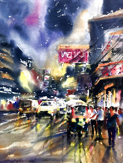 Streets of Bangkok 2004 39x31 Original Painting - Attasit Pokpong