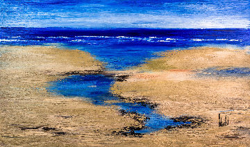Entre Ciel Et Mer (Between Sky And Sea) 2018 36x58 Original Painting by Jaline Pol