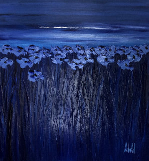 Untitled Painting - Blue Flowers 51x51 Original Painting - Jaline Pol