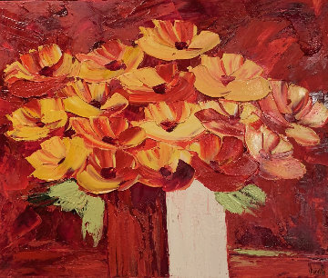 Nous Aurons D\'efrangés Fleurs Sur Nos Efageres 2000 26x30 Original Painting - Jaline Pol