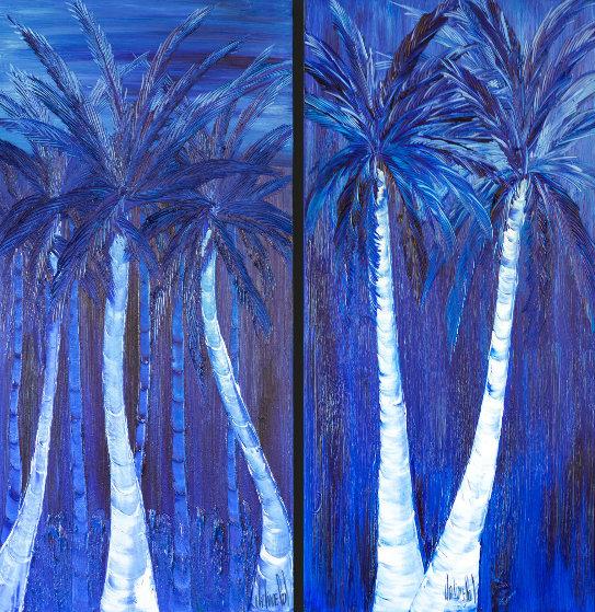 Night Under the Tropics - Set of 2 Paintings 72x38 Original Painting by Jaline Pol
