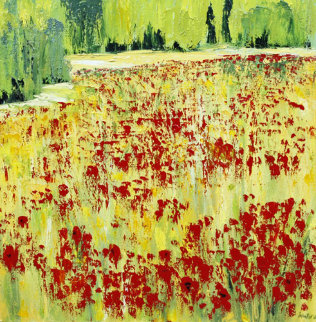 Eruption Florales 1997 38x38 Original Painting by Jaline Pol