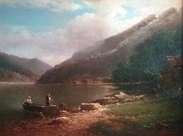 River Stole 1996 34x41 Original Painting - Alexander Popoff