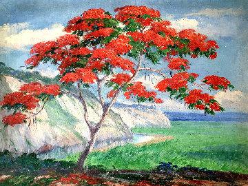 Flamboyan 1939 26x32 Original Painting - Miguel Pou