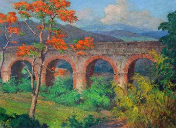 Puente De Los Frailes, Puerto Rico 1958 27x21  Original Painting - Miguel Pou
