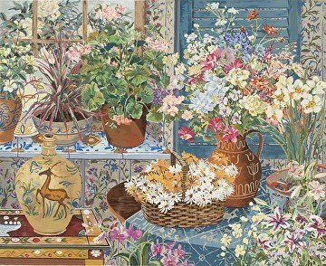 Spanish Tile and Geraniums 1984 Limited Edition Print by John Powell