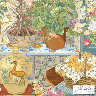 Spanish Tile and Geraniums 1984 Limited Edition Print - John Powell