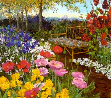 Tranquility/Poppies & Rattan Bench PP Limited Edition Print - John Powell