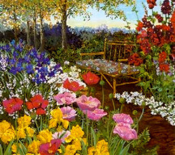 Tranquility / Poppies & Rattan Bench PP Limited Edition Print - John Powell