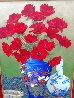 Untitled Floral Still Life 1990 36x26 Original Painting by John Powell - 2
