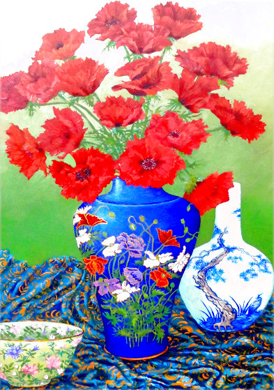 Untitled Floral Still Life 1990 36x26 Original Painting by John Powell