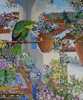 Parrot and Rooftops 1985 Limited Edition Print - John Powell