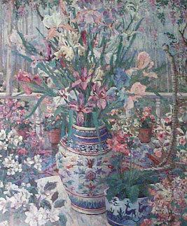Still Life On The Veranda 1970 30x26 Original Painting by John Powell