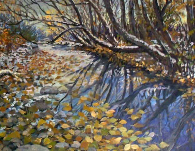 Creek in the Woods 2008 16x20 Original Painting by John Powell