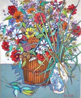 Still Life Flowers 1970 36x30 Original Painting by John Powell
