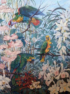 Parrots And Hibiscus AP 1985 Limited Edition Print - John Powell