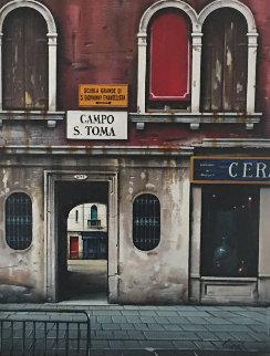 Campo S. Toma 1997 23x28 Original Painting - Thomas Pradzynski