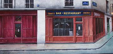 Le Coin De La Rue Du Poteau 1990 24x41 Huge Original Painting - Thomas Pradzynski