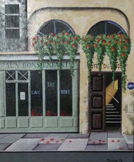 Paris Streetscape 1978 16x13 Original Painting by Thomas Pradzynski
