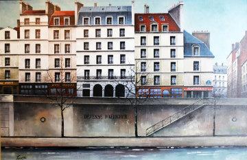 La Seine River, Paris 1988 32x28 Original Painting by Thomas Pradzynski