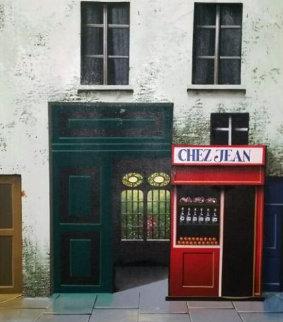 Chez Jean 1983 20x17 Original Painting - Thomas Pradzynski
