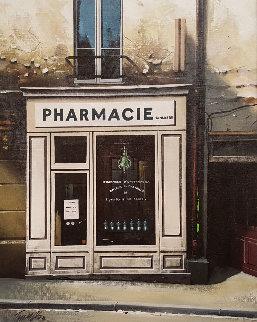 La Pharmacie En Blanc 1991 24x27 Original Painting - Thomas Pradzynski
