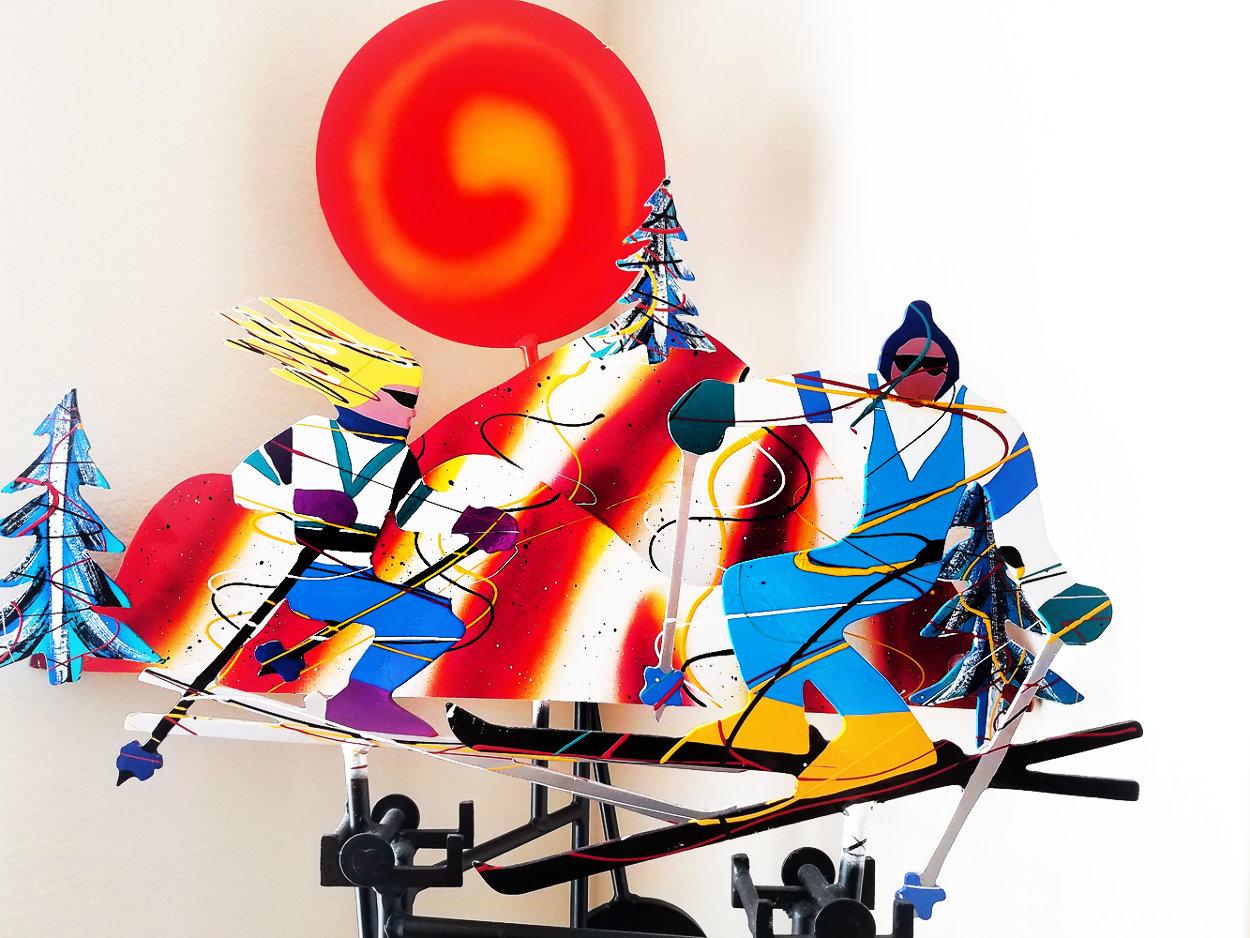 Mobile Skiers 1988 Steel Kinetic Sculpture 40 in Sculpture by Frederick Prescott