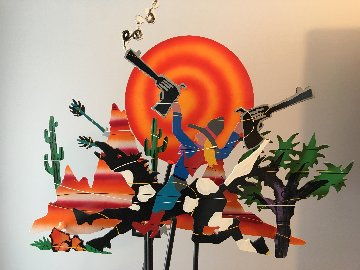 Rootin' Tootin Cowboy Kinetic Sculpture 1990 63x44 Super Huge Sculpture - Frederick Prescott