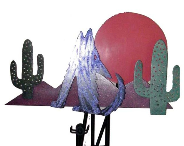 Coyote Sunset Kinetic Sculpture 1988 64 in  Sculpture by Frederick Prescott