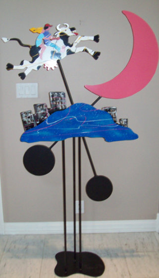 Cow Jumped Over the Moon Kinetic Sculpture 1990 71x33 Sculpture by Frederick Prescott