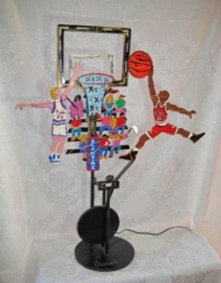It's Slam Time - Bulls and Pistons Kinetic Sculpture  1992 39 in  Sculpture by Frederick Prescott