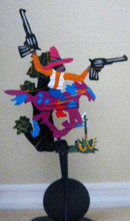 Desktop Cowboy Unique Kinetic Metal Sculpture 1988 Sculpture by Frederick Prescott