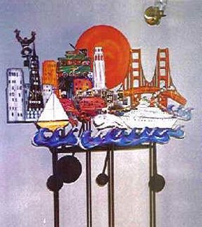 San Francisco Kinetic Steel Sculpture with Neon  AP 1989 63x55 Sculpture - Frederick Prescott