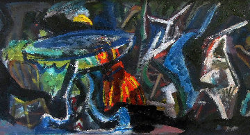 Abstract Composition 1950 21x46 Original Painting by Josef Presser