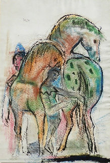 Horses And Figure 1950 43x31 Works on Paper (not prints) - Josef Presser
