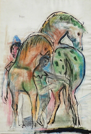 Horses And Figure 1950 43x31 Works on Paper (not prints) by Josef Presser