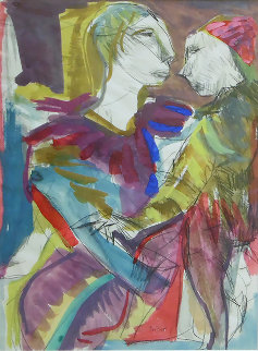 Couple 1950 31x25 Original Painting - Josef Presser