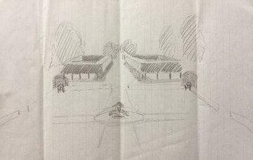 Highgrove Original Pencil Sketch 1986 12x8 Drawing by  Prince Charles