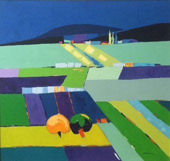 Untitled Landscape 36x38 Original Painting - Adrian  Prisecaru
