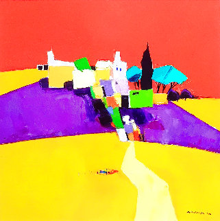 Hills At Auvers 2011 25x25 Original Painting - Adrian  Prisecaru